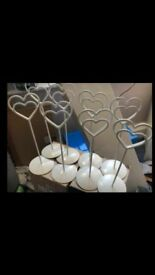 8 x Cream Heart Shaped Table Name/Number Holders - perfect for weddings/celebrations