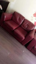 Burgundy real leather sofa set in pristine condition