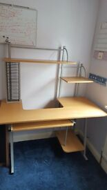 Oak Coloured Workstation/Desk - in Very Good Condition