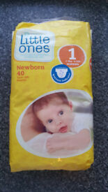 Little Ones 40 Nappies unopened Size 1 NewBorn 2-5kg 4-11lb