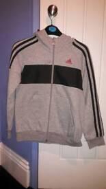 Boys Adidas hoodie. Grey age 9-10