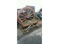 Wagon wheel garden seat