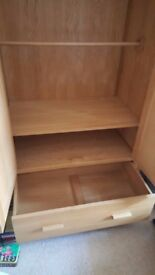 Mama's + Papa's SOLID OAK Wardrobe Dresser/Baby changer Wall unit and Moses basket + Stand