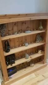 Solid pine bookshelf/display unit