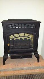 Flueless Gas Stove - matt black traditional design - Natural Gas