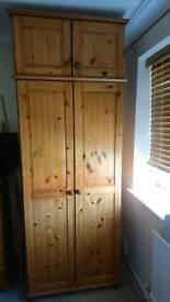 Solid pine wardrobe (excellent cond)