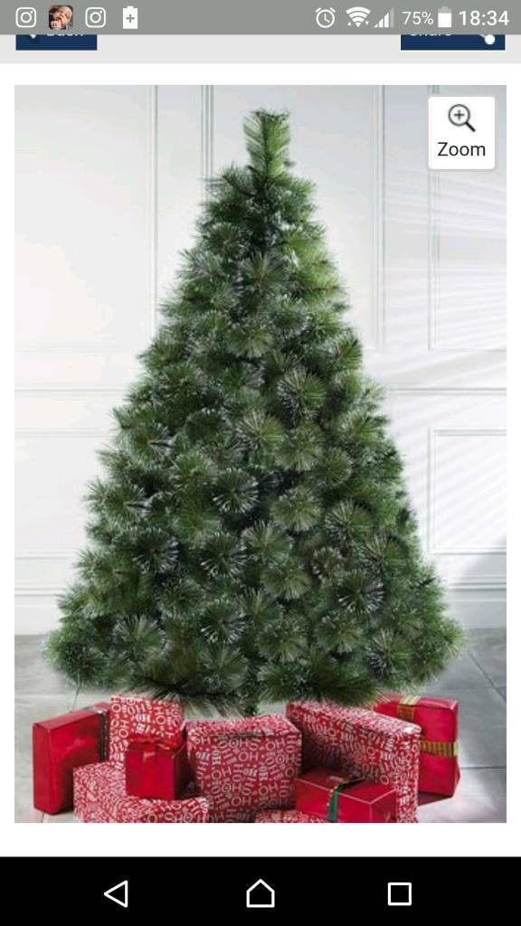Green 8ft bushy Christmas tree glitter branches