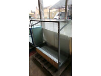 OPEN BACKED GLASS RETAIL DISPLAY CABINET WITH LIGHT FITTING