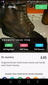Size 5 brown dr martin boots very good condition but you will need toget some laces