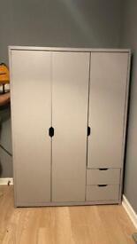 3 door grey wardrobe