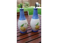 BRAND NEW Hand-painted Olive Oil and Vinegar Bottles (Two)