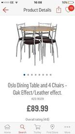 OSLO DINING TABLE & 4 CHAIRS £40