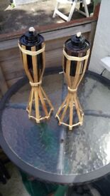 NEW 2 unused bamboo oil lamps