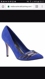 Aldo blue suede high heels - size 38/5 - NEVER WORN