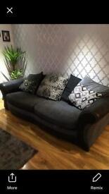Black and grey fabric sofas