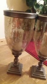 Antique pair etched glass/metal candle holders.