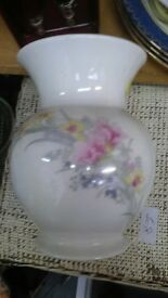 White Vase - pink yellow flower vintage