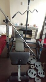 Olympic weights 140kg with marcy multi function rack