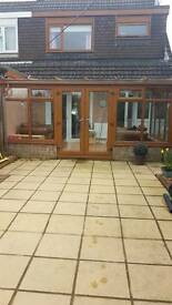Oak PVC lean too conservatory with double glazed roof