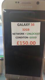 SAMSUNG GALAXY S6 32GB UNLOCKED CONDITION GOOD