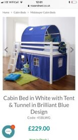 Mid sleeper cabin bed with tent and tunnel