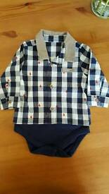 Boy m&s smart shirt vest 3-6 months new without tag.