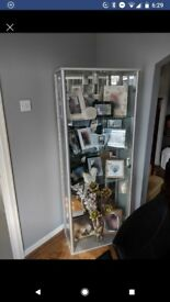 Two door, Glass display cabinet with mirror