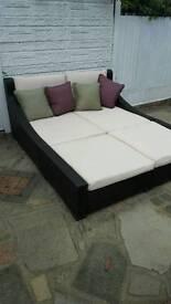 Rattan day bed garden furniture