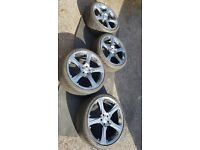 """4x 18"""" alloy wheels (5x100) with old 215/35R18 tyres"""