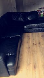 Corner couch black leather L shape **Bargain**