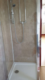 Glass walled shower in good condition
