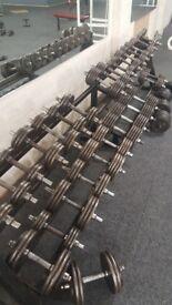 Full iron dumbbell set with rack