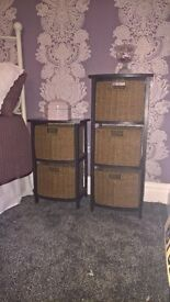 Set of 2 Wood/Wicker storage drawers or bedside tables / cabinets