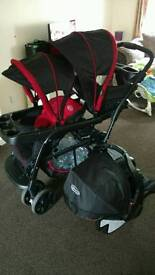 Graco ready to grow double stroller including car seat.