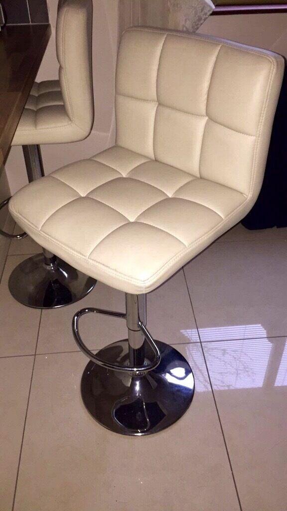 Pair of cream chrome bar stools