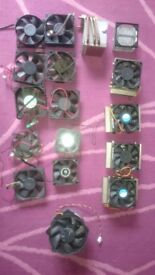 CPU aluminium heat sinks, fans various sizes