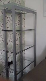 Glass and Metal Shelve Unit.