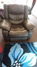 Electric Leather Recliner Brown