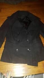 Black topshop pea coat. Size 10