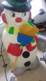 Light up snowman ..solid with sand on bottom ..heavy