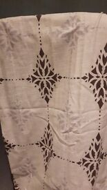 Pair large lined Ikea curtains cream with brown and pale duck egg pattern 140x280 each