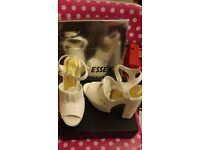 White wedge sandals - size 4