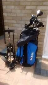 RAM adult right handed golf clubs, bag and trolley