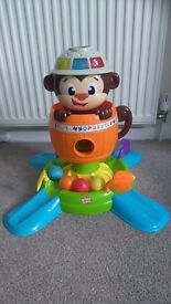Toy bundle vtech push and ride train, hide n spin monkey,trampoline,vtech bounce and discover frog