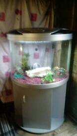 AQUA MODE 900 BY AQUA ONE HALF MOON FISHTANK IN SILVER WITH MATCHING SILVER CABINET