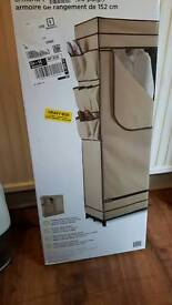 BRAND NEW BOXED 60 INCH WIDE CLOTHES HANGING RAIL SYSTEM WITH COVER AND STORAGE