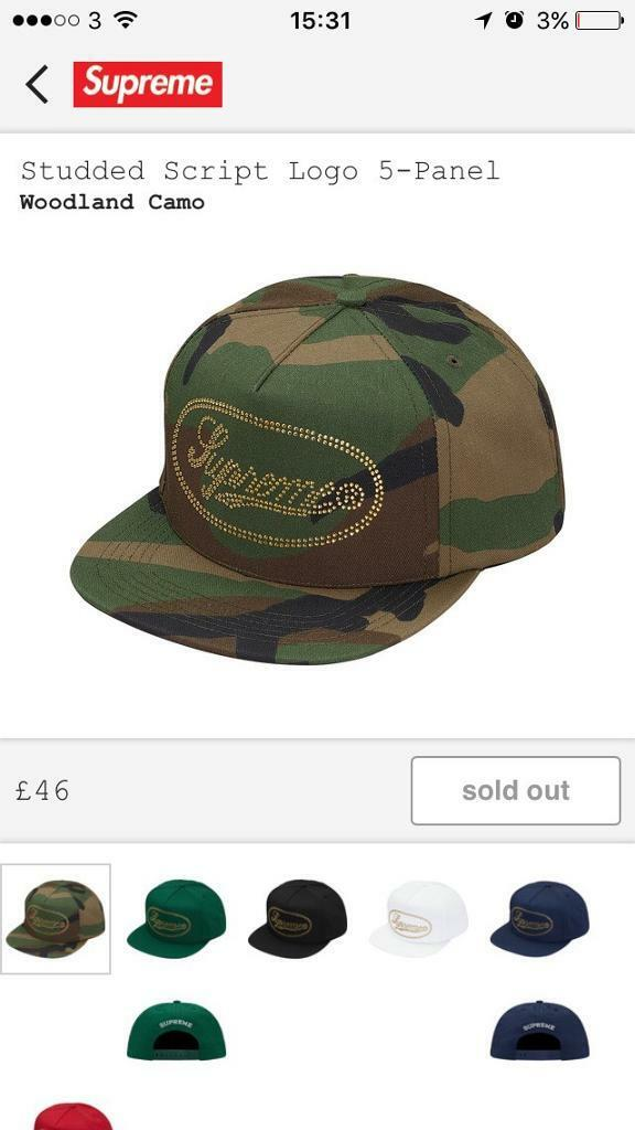 3d85aa7d304 Supreme studded script logo 5 panel woodland camo cap hat