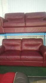 Dyson real leather red 3 +3 seater sofa
