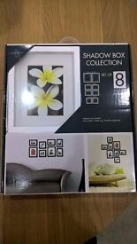 Set of 8 Shadow Box Frames in White Brand New (Boxed)