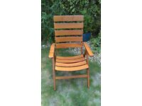 Solid, excellent quality garden reclining chair, 4 positions.